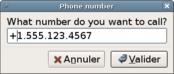 Screenshot of the dialog asking to enter the phone number to be called
